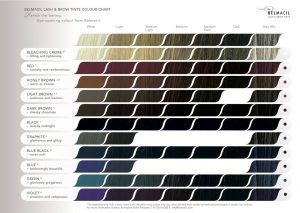 Belmacil eyelash Tint colour chart